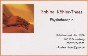 Visitenkarte Psysiotherapie Köhler-Thees