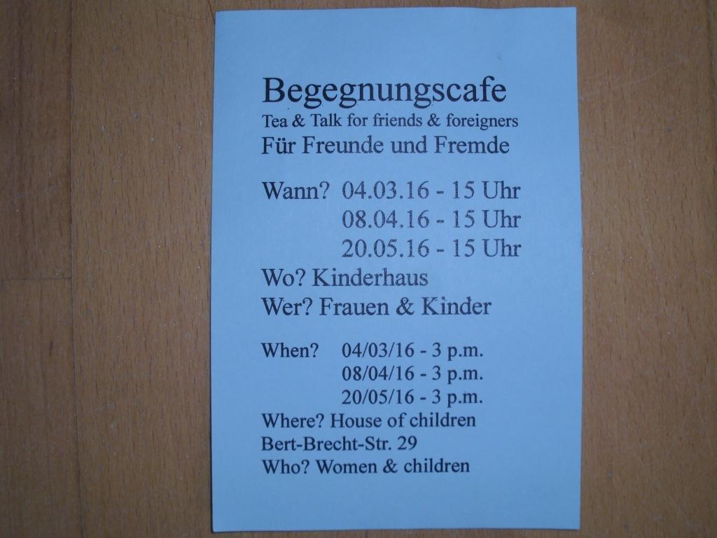 Flyer Flüchtlingscafé